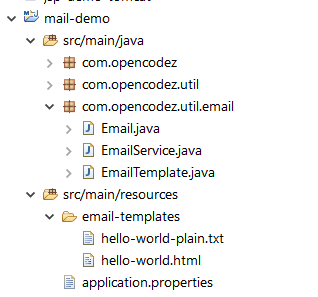 Java Mail Demo - Project Structure