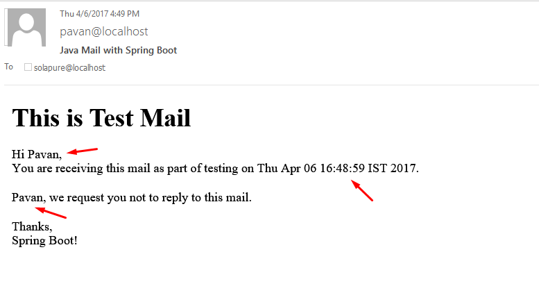 Java mail framework using spring boot opencodez you can double click the mail and see how it looks check below tadaaa its your html mail malvernweather Image collections