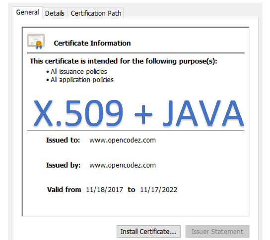 How to read X509 Certificate from Java KeyStore - opencodez